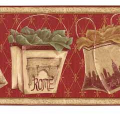 Travel Tuscany Shopping Bags Wallpaper Border KM7722b <br> CLEARANCE!! QUANTITIES LIMITED!!