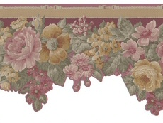 Scalloped Floral Satin Wallpaper Border 29-419 <br> CLEARANCE!! QUANTITIES LIMITED!!