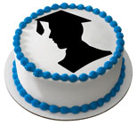 Cake Toppers Graduation Boy Silhouette Cake Topper Image