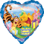 Pooh Balloons Pooh and Tigger Birthday Heart