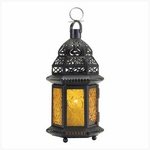 Yellow Glass Candle Lantern
