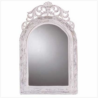 Framed Wall Mirror Distressed White