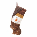 Golden Sparkle Snowman Stocking