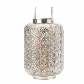 Tall Silver Lace Design Candle Lamp