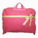PINK GARMENT BAG WITH LIGHT GREEN POLKA DOTS & MATCHING BOW
