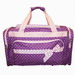 PURPLE DUFFLE BAG WITH PINK POLKA DOTS & ACCENTS