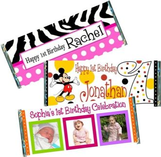 1st Birthday Candy Bar Wrappers First Favors Party Favor Ideas