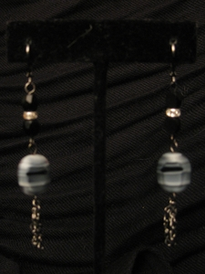 Dark Silver with Zebra Glass Bead and Swarovski Bead