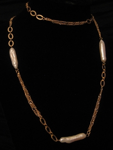 "30"" Gold with Freshwater Drop Shape Pearl"
