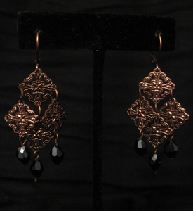 Antique Copper with Black Swarovski