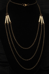 """30"""" Antique Gold with Pearls"""