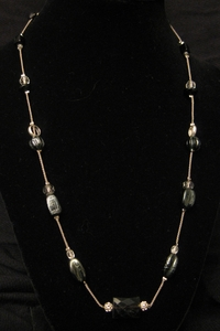 """20"""" Floating Glass Beads with Black Onyx"""