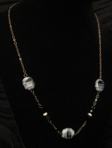 "18"" Dark Silver with Zebra Glass Bead and Swarovski Bead"