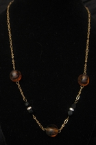 "18"" Antique Gold with Tiger Glass Bead and Swarovski Bead"