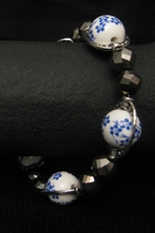 Silver with Blue-Flower Porcelain and Dark Silver Accents