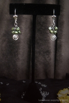 Silver Dangle-green freshwater pearls