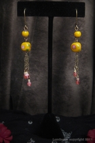 Antique Gold Dangle-yellow ceramic bead