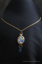 Antique Gold-Blue quilt pendant