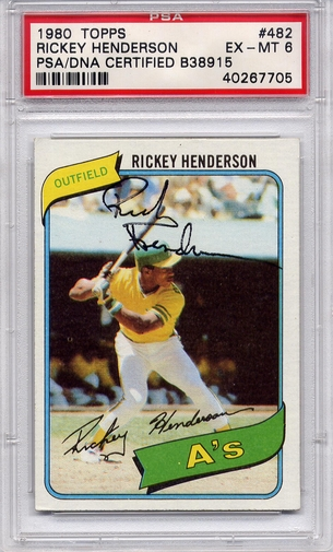 Rickey Henderson Rookie PSA/DNA Certified Authentic Autograph - 1980 Topps