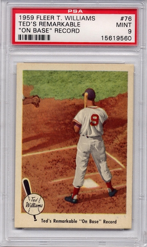 "1959 Fleer Ted Williams - Ted's Remarkable ""On-Base"" Record #76 PSA 9"