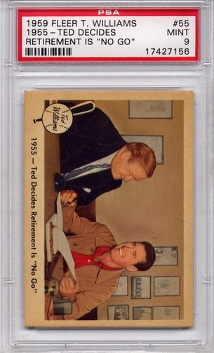 """1959 Fleer Ted Williams - 1955 - Ted Decides Retirement Is """"No Go"""" #55 PSA 9"""