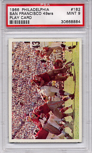 1966 Philadelphia - San Francisco 49ers Play Card #182 PSA 9