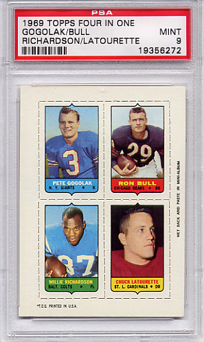 1969 Topps Four In One Gogolak/ Bull/ Richardson/ Latourette PSA 9