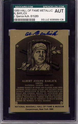 Al Barlick SGC/JSA Certified Authentic Autograph HOF Metallic
