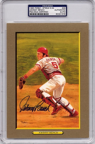 Johnny Bench PSA/DNA Certified Authentic Autograph Perez-Steele Postcard Great Moments #49