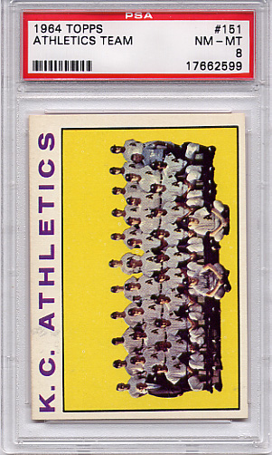 1964 Topps Athletics Team #151 PSA 8