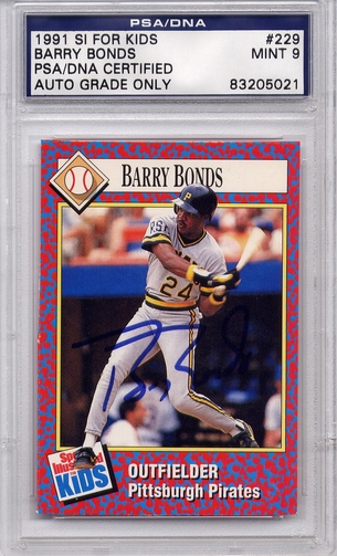 Barry Bonds PSA/DNA Certified Authentic Autograph - 1991 SI For Kids
