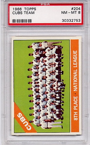 1966 Topps Chicago Cubs Team #204 PSA 8