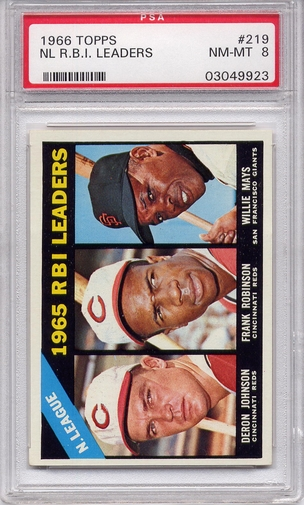 1966 Topps NL RBI Leaders #219 PSA 8