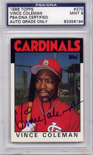 Vince Coleman PSA/DNA Certified Authentic Autograph