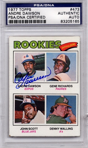 Andre Dawson Rookie PSA/DNA Certified Authentic Autograph - 1977 Topps