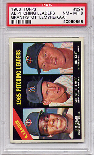 1966 Topps AL Pitching Leaders #224 PSA 8