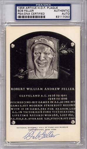 Bob Feller PSA/DNA Certified Authentic Autograph Artvue HOF Plaque