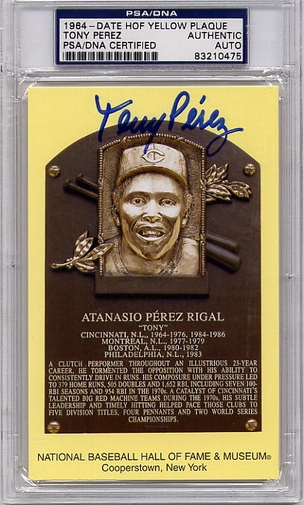 Tony Perez PSA/DNA Certified Authentic Autograph HOF Plaque