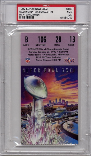 1992 Super Bowl XXVI Ticket Stub PSA 7 NM (MK) - Redskins