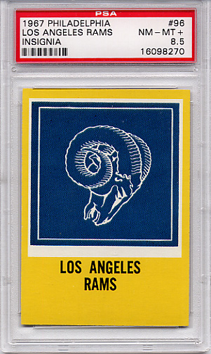 1967 Philadelphia Los Angeles Rams Insignia #96 PSA 8.5