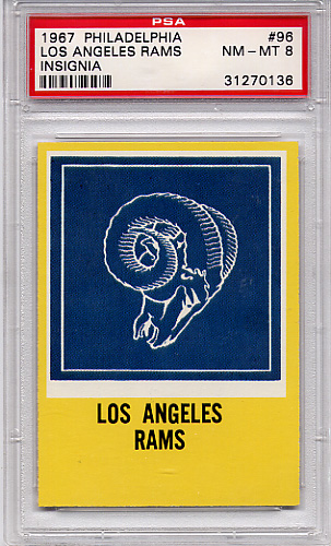 1967 Philadelphia Los Angeles Rams Insignia #96 PSA 8