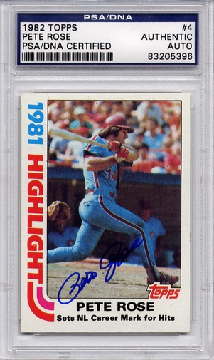 Pete Rose PSA/DNA Certified Authentic Autograph - 1982 Topps #4