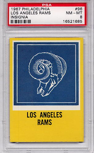 1967 Philadelphia - Los Angeles Rams Insignia #96 PSA 8
