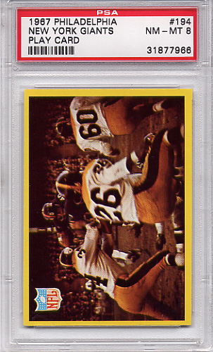 1967 Philadelphia - Giants Play Card #194 PSA 8