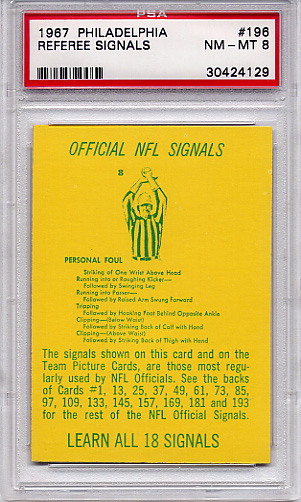 1967 Philadelphia Referee Signals #196 PSA 8