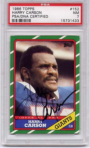 Harry Carson PSA/DNA Certified Authentic Autograph - 1986 Topps
