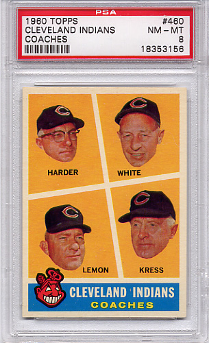 1960 Topps Cleveland Indians Coaches #460 PSA 8