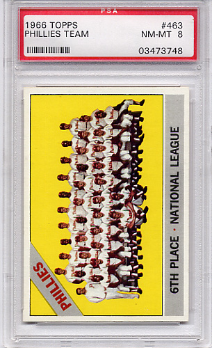 1966 Topps Phillies Team #463 PSA 8