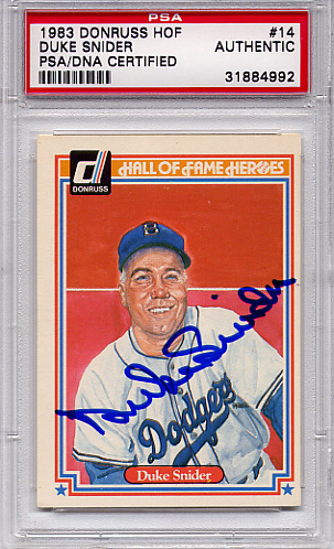Duke Snider PSA/DNA Certified Authentic Autograph