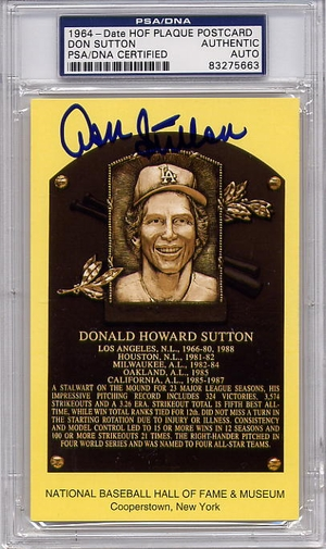 Don Sutton PSA/DNA Certified Authentic Autograph HOF Plaque